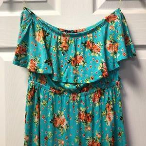 Tube High Low Ruffled Hem Teal Floral Maxi Dress
